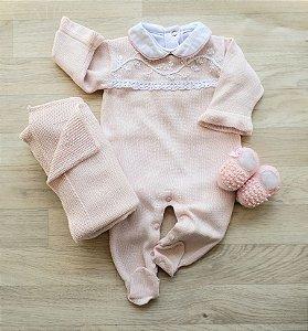 Macacão Maternidade Tricot - Mel rosa bebê