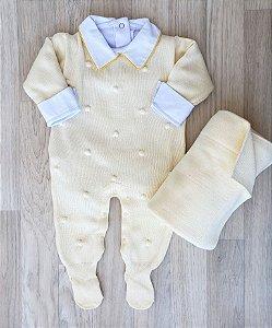 Macacão Maternidade Tricot - Matias Amarelo