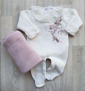 Macacão Maternidade Tricot - Vida off white (Somente macacão)