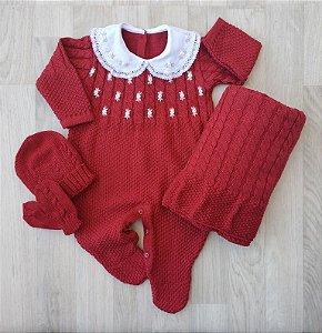 Macacão Maternidade Tricot - Charlote Vermelho (Somente macacão)