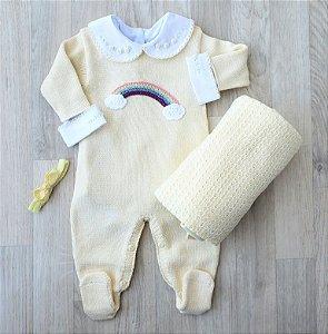 Macacão Maternidade Tricot Unissex - Arco Íris Amarelo (Somente macacão)