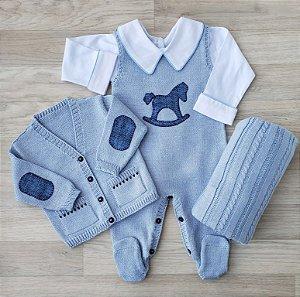 Conjunto Maternidade Tricot - Romeo Azul claro (Jardineira e Casaco)