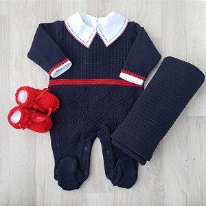 Saída Maternidade Tricot - Vitor Azul marinho