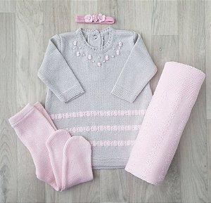 Saída Maternidade Tricot - Bruna cinza e rosa