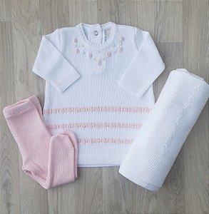 Saída Maternidade Tricot - Bruna Branca e rosa