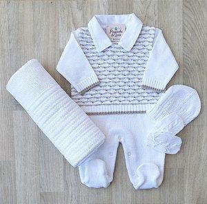 Saída Maternidade Tricot - Giovani branco (Gola embutida)