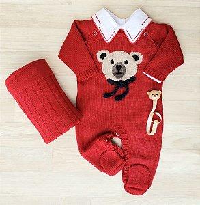 Macacão Maternidade Tricot - Baby Bear Vermelho (Somente macacão)