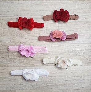 Faixinha meia de seda - Laço e Flor (Cores diversas)