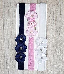 Kit 3 faixinhas meia de seda - Mini flores