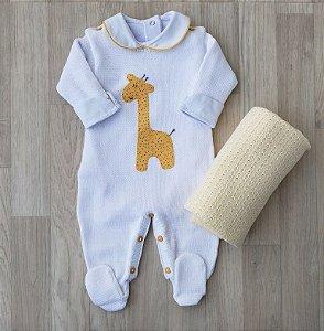 Macacão Maternidade Tricot - Girafinha Branco (Somente macacão)