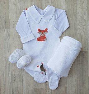 Jardineira Tricot - Raposinha Branca (Somente jardineira)