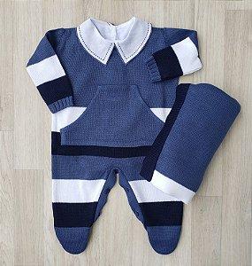 Saída Maternidade Tricot - Enzo Azul jeans (Sem body)