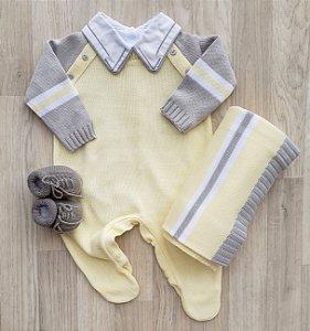 Saída Maternidade Tricot - Gael Amarelo e cinza (Sem body)