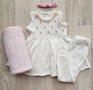 Conjunto Maternidade - Alicia off white (vestido e calça)