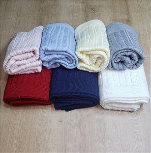 Manta tricot modelo tranças - Cores diversas