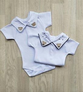 Body Maternidade Ursinho - Manga CURTA (Branco ou Marinho)
