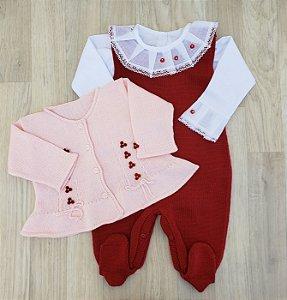 Conjunto Maternidade Eloá - Vermelho e Rosa (Jardineira e Casaquinho)