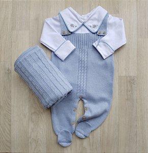 Jardineira Maternidade Tricot - Mateo azul claro (Somente jardineira)