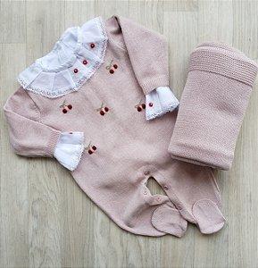Macacão Maternidade Tricot - Cerejinhas rosê (Somente macacão)