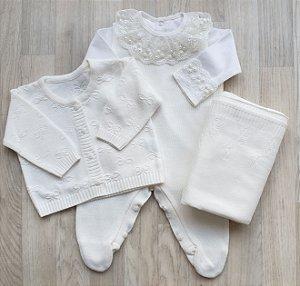 Saída Maternidade Tricot - Ester Off white (Sem body)