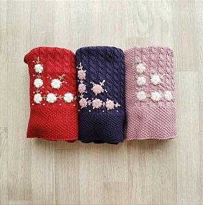 Manta tricot modelo tranças bordada à mão - Cores diversas