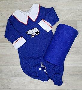 Macacão Maternidade - Snoopy Azul Bic (Somente macacão)