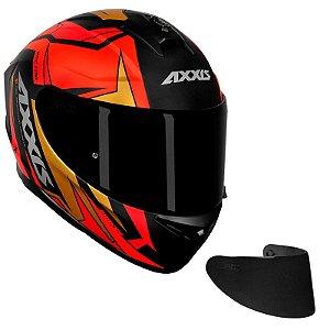 COMBO - Capacete AXXIS Draken Vector Fosco Preto, Vermelho e Dourado