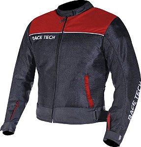 Jaqueta Race Tech Fast Air Ventilada Preta e Vermelha