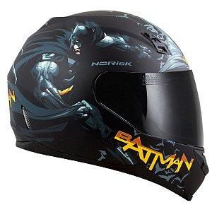 Capacete Norisk Ff391 Batman Hero Preto/Amarelo