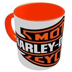 Caneca logo Harley Davidson Branca/ Laranja
