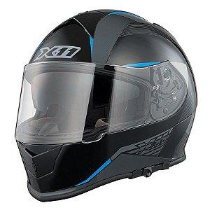 Capacete X11 Revo Sv Preto e Azul com Viseira Solar