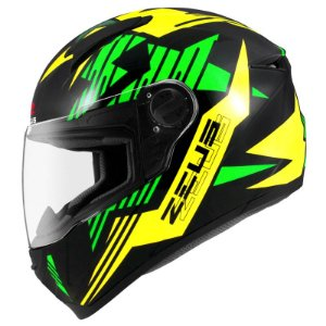 Capacete Zeus 811 Evo Top Gun Solid Black Al28 Green