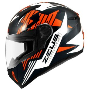 Capacete Zeus 811 Evo Top Gun Solid Black Al28 Orange