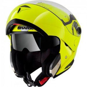 Capacete Shark Openline Hi Visibility Yellow Yky Escamoteável com viseira solar