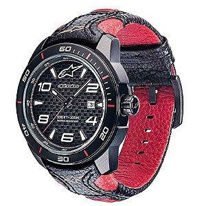 Relógio Alpinetars Tech Com Pulseira De Couro Preto E Vermelho