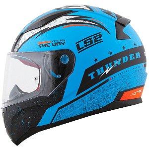 Capacete Ls2 Rapid Ff353 Thunder Azul/ Preto /Fluor Fosco