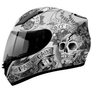 Capacete Mt Revenge Skull & Roses Branco/Preto
