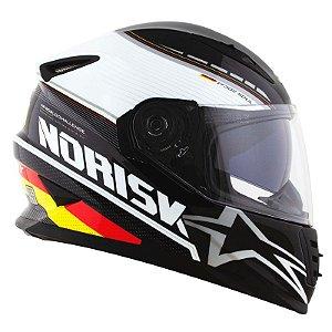 Capacete Norisk Ff302 Grand Prix Alemanha (C/Viseira Solar) Branco/ Preto/ Amarelo