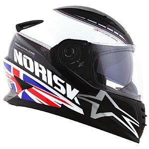 Capacete Norisk Ff302 Grand Prix Inglaterra UK (C/Viseira Solar) Branco/ Preto/Vermelho