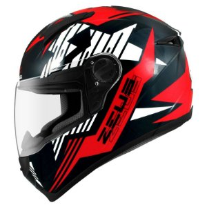 Capacete Zeus 811 Evo Top Gun Solid Black Al28 Preto e Vermelho