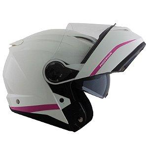 Capacete Norisk Force Simplicity White/ Pink (C/Viseira Solar)