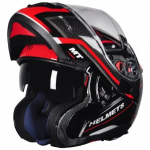 Capacete Articulado Mt Sv Atom Sx2 Gloss Black Red
