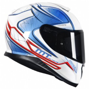 Capacete Mt Thunder3 Storke White/Blue/Red