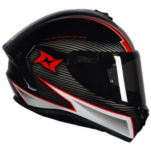 Capacete Axxis Draken Track Gloss Black White Red