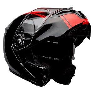 Capacete Bell Articulado Srt Modular Ribbon Black Red (Com viseira Solar)