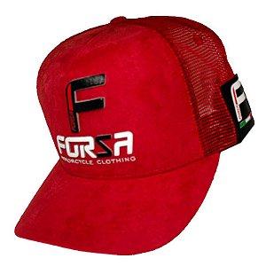 Boné Forza Logo Vermelho Aveludado