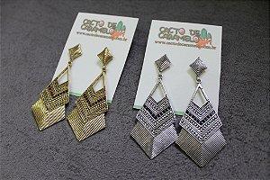 Brinco Triangulo Festa Casual Dourado/Prata