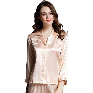 Pijamas senhora Conjunto de Mistura de Seda Rendas Sleepwear Mid-Manga Camisola + Calças Terno (P) (M) (G)