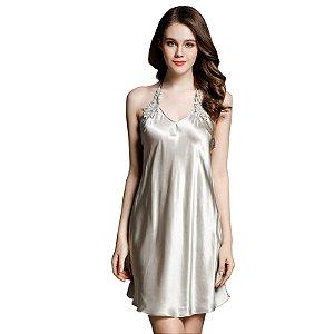 Real Silk Mulheres Nightdress Nightgowns Verão Sexy Lace Bordado 100% Vestido De Seda De Dormir Salão de Moda