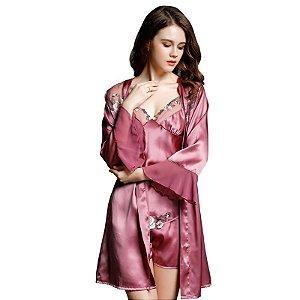 YIYUAN Marca Sexy Mujeres de Seda Camisones Sleepshirts Camisón de Seda Real 2017 Moda (P) (M) (G)